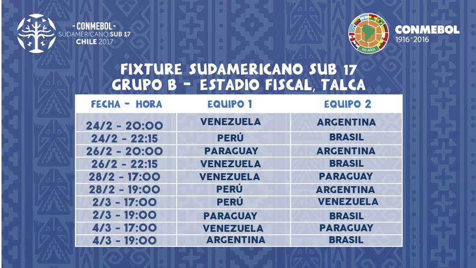 fixture b chile 2017