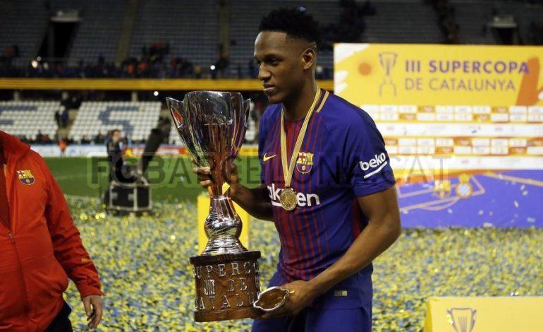 Yerry Mina consiguió su primer gol y su primer título con Barcelona: La Supercopa de Cataluña